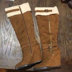 Just Fab Brown Suede Wool Cuff Wedge Boots